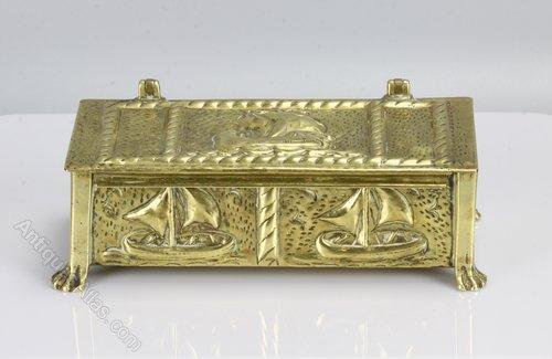 Arts & Crafts Brass Box Decorated Galleons