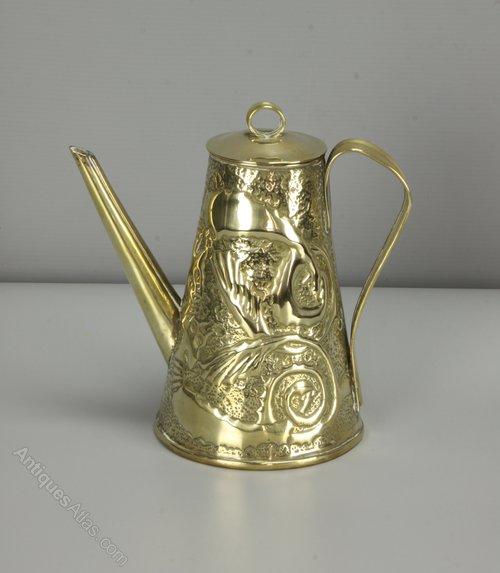 Arts & Crafts Brass Coffee Pot Watering Can c1910