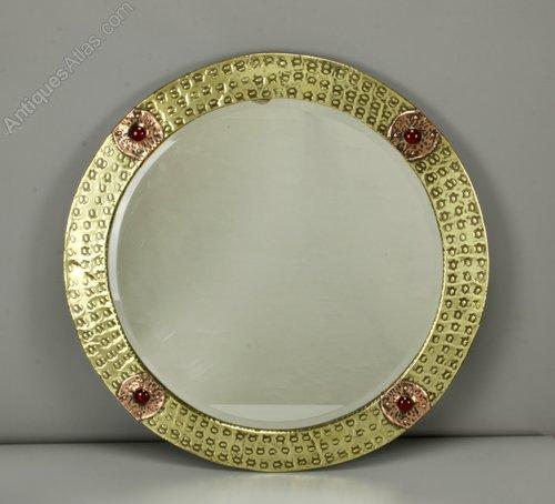 Arts & Crafts Brass, Copper & Cabochon Mirror 1910