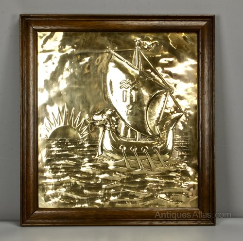 Arts & Crafts Brass Galleon Plaque circa 1910