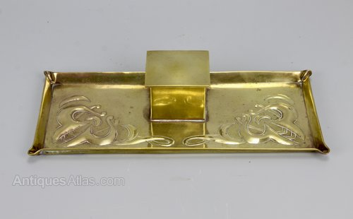 Arts & Crafts Brass Inkwell Circa 1910