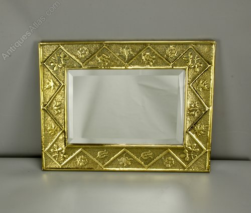 Arts & Crafts Brass Wall Mirror c1900