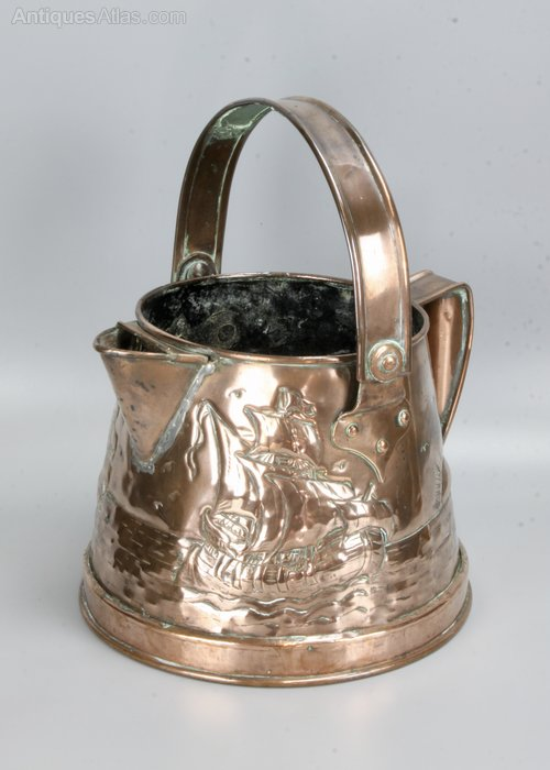 Arts & Crafts Copper Pail Jug Planter Cornish