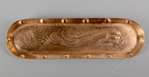 Arts & Crafts Copper Pen Tray with Dragon Motif