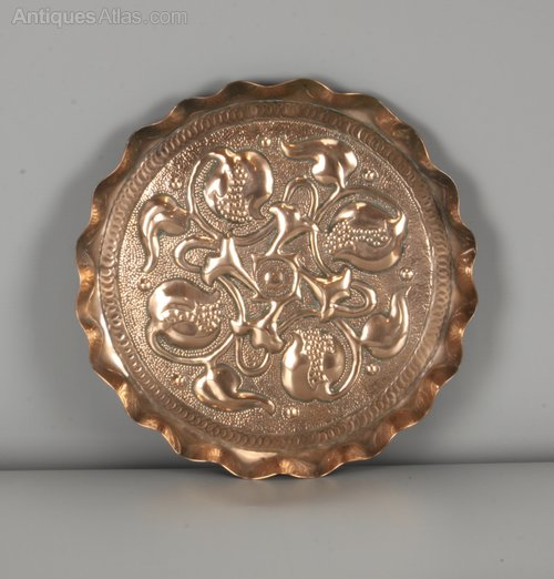 Arts & Crafts Copper Plate Seed Pods c1900