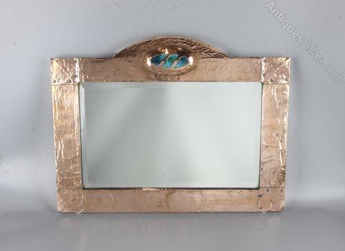 Arts & Crafts Copper & Enamel Mirror c1910