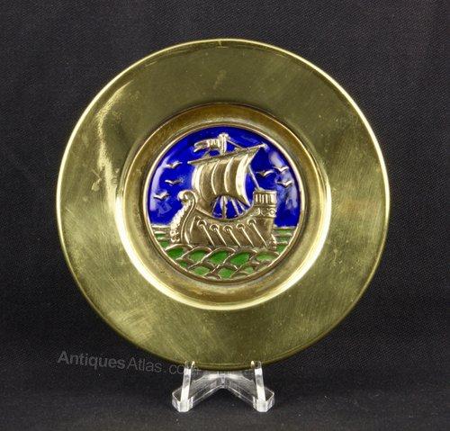 Arts & Crafts Enamel Galleon Pin Dish circa 1910