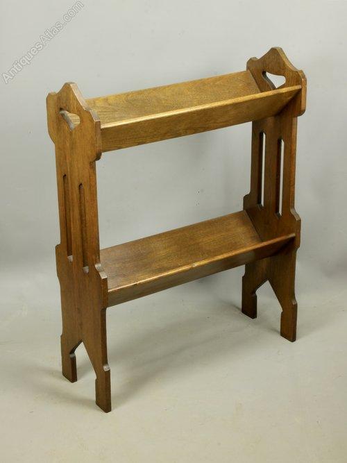 Arts & Crafts Oak Book Trough Stand c1910