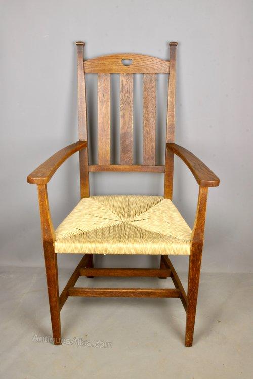 Arts & Crafts Oak Rush Seat Chair, c1900