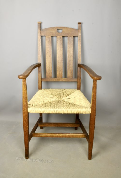 Arts & Crafts Oak Rush Seat Open Armchair c1900
