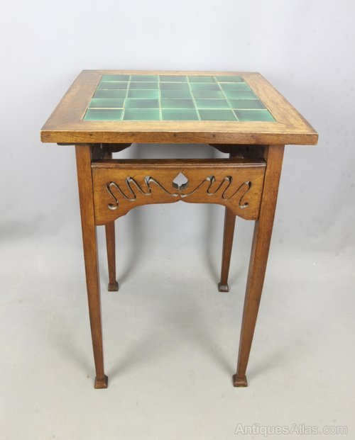 Arts & Crafts Oak Tile Top Occasional Table