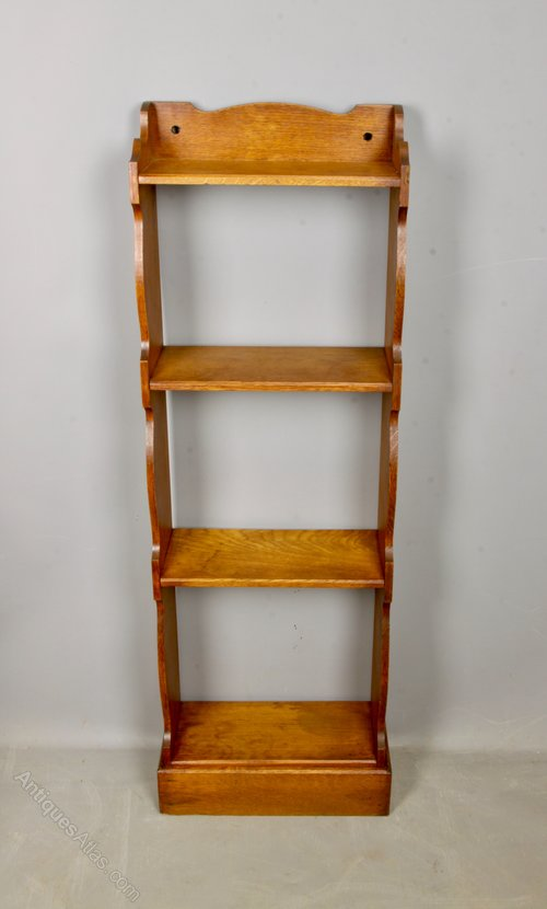 Arts & Crafts Oak Wavy Edge Bookcase c1910