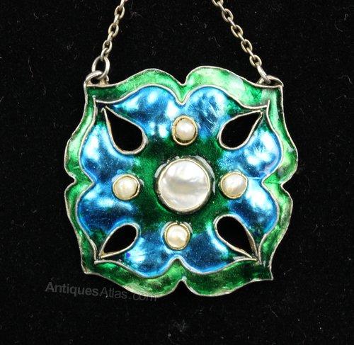 Arts & Crafts Silver Enamel & MOP Pendant c.1900