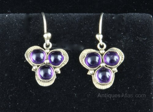 Arts & Crafts Silver Gilt Amethyst Earrings c1920