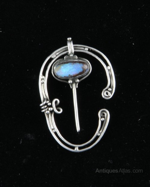Arts & Crafts Silver Opal Cloak Pin Alice Scott 1910