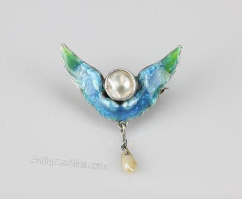 Arts & Crafts Silver & Enamel Pearl Brooch