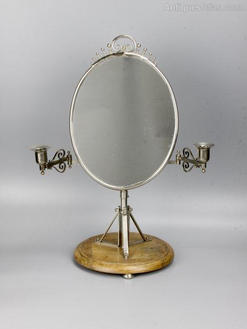 Arts & Crafts Silvered Brass Shaving Mirror