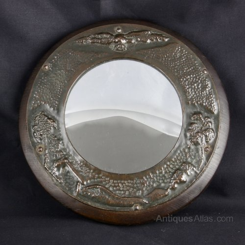 Arts and Crafts Circular Copper Mirror circa 1910