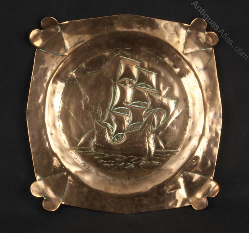 Arts and Crafts Copper Galleon Pin Dish Circa 1910