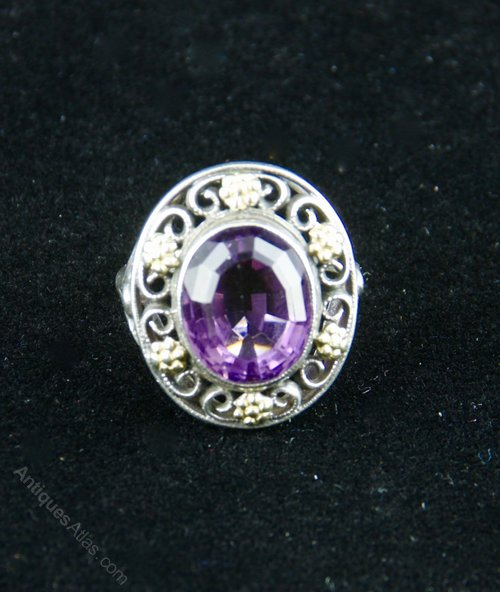 B Instone Arts & Crafts Silver Gold Amethyst Ring