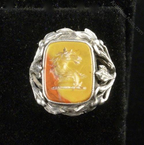 B Instone Silver & Carnelian Intaglio Ring c1920