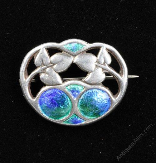 Charles Horner Art Nouveau Silver Enamel Brooch