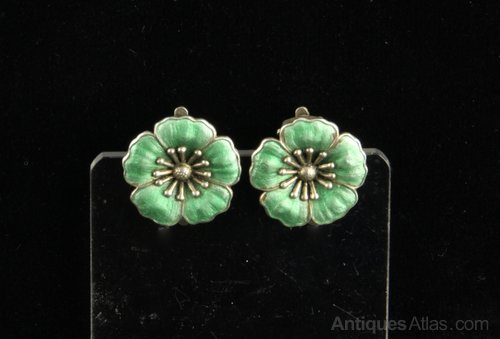 Danish DGH Silver Gilt Enamel Earrings circa 1955