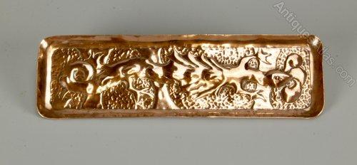 Early Newlyn Copper Pen Tray Signed Nicholls c1900