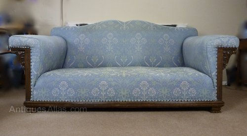 Edwardian Oak Arts Crafts Fabric Upholstered Sofa