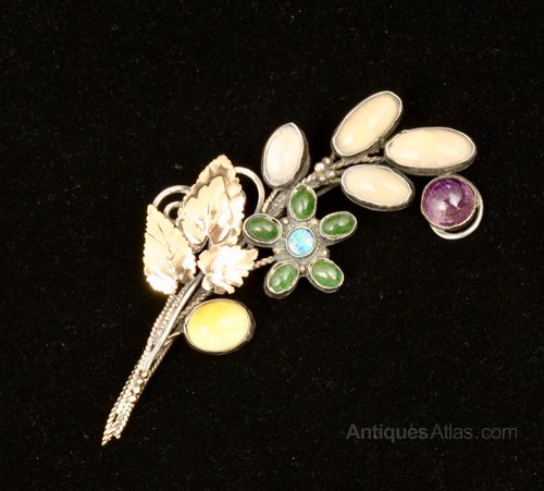 English Arts & Crafts Silver Gold Floral Brooch