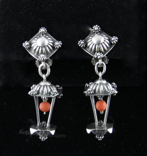 Etruscan Revival Silver Lantern Earrings c1940