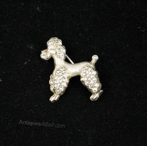 French Silver & Marcasite Poodle Brooch Pin 1930's