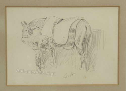Gilbert Holiday Pencil Sketch Horse Farrier 1933
