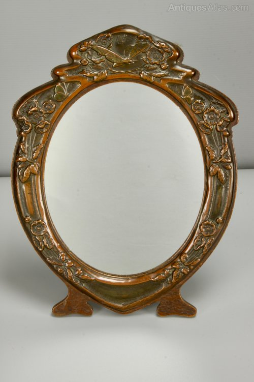 J Aitkin Art Nouveau Copper Oak Table Mirror c1910