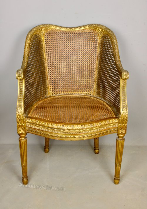 Late 19th Century Gilt Wood Bergere Salon Chair