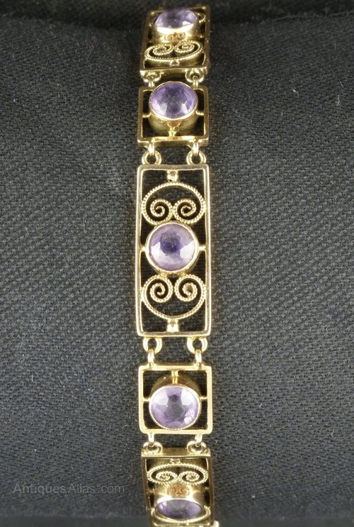 Murrle Bennett Arts Crafts Gold Amethyst Bracelet