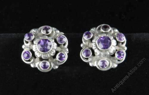 Pair Arts & Crafts Silver Amethyst Earrings c1920