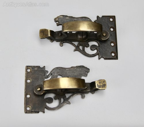 Pair of Arts & Crafts Lion Window Latches c1900