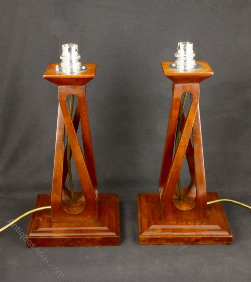 Pair of Arts & Crafts Open Twist Table Lamps