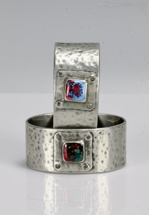 Pair of Arts & Crafts Pewter & Enamel Napkin Rings