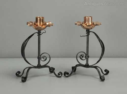 Pair of Arts & Crafts Steel & Copper Candlesticks