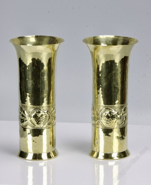 Pair of Keswick Brass Spill Vases Strawberries