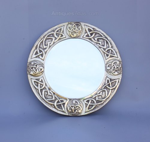 Scottish Celtic Iona Arts Crafts Mirror c1920