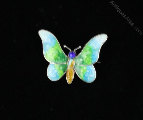 Silver and Enamel Butterfly Brooch Pin c1925