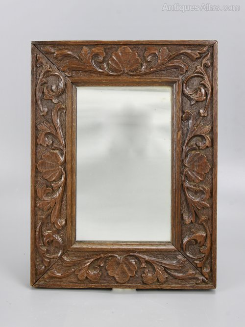 Small Arts & Crafts Carved Oak Wall Mirror