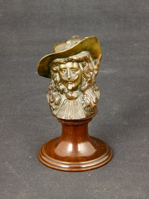 Small Bronze Bust or Paperweight Charles I c1900