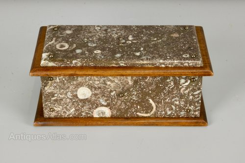 Victorian Cornish Serpentine Marble Box c1890