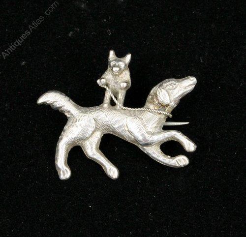 Victorian Silver Mr Fox Riding Hound Brooch Pin
