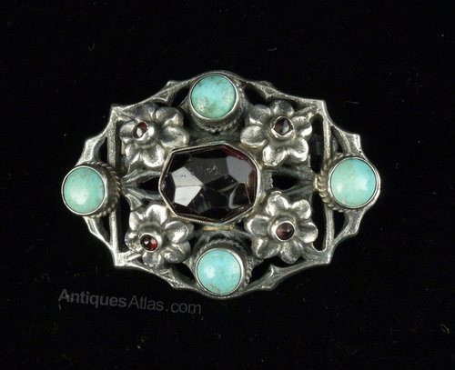 Zoltan White Arts & Crafts Turquoise Garnet Brooch