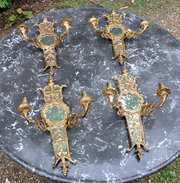 Set of Four Gilt Brass Sconces